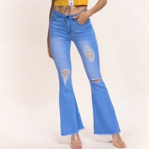 Distressed a flare Jeans